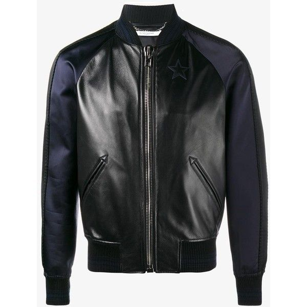 Givenchy star logo leather and silk bomber jacket ($2,525) ❤ liked on Polyvore featuring men's fashion, men's clothing, men's outerwear, men's jackets, mens sport jackets, mens silk bomber jacket, mens long jacket, mens bomber jacket and mens collarless jacket