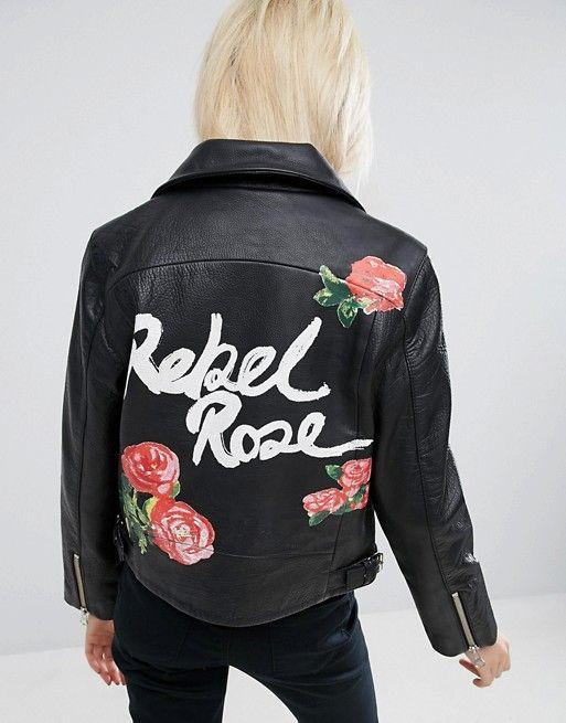 ASOS | ASOS Leather Biker Jacket in Black with Rebel Rose Back Print