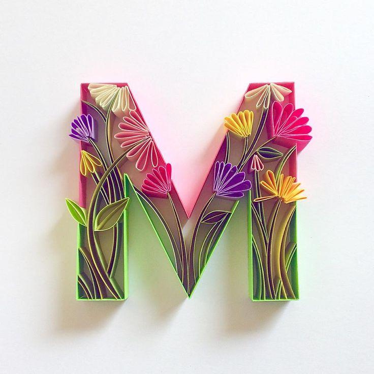 floral letter M, by British paper quilling artist sabeena karnik