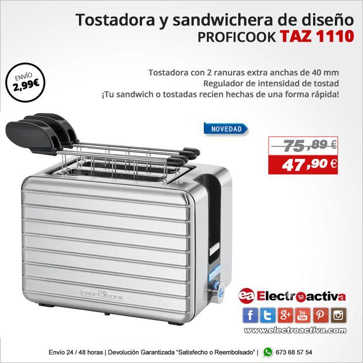 ¡Tu sandwich o tostadas recien hechas de una forma rápida! Tostadora Sandwichera PROFICOOK TAZ 1110 https://www.electroactiva.com/tostadora-boca-ancha-pinzas-p… #Elmejorprecio #Tostador #Sandwichera #Electrodomestico #PymesUnidas