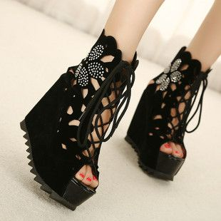 Hole shoes super high heels nightclub Korean version of the Department of octopus mouth single shoes