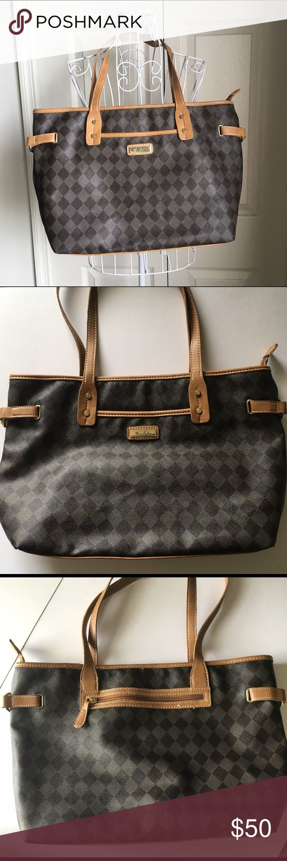 Marc Fisher checkered tote Marc Fisher Louis Vuitton inspired tote bag. Marc Fisher Bags Totes