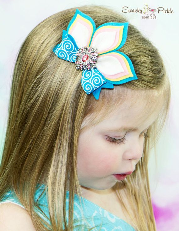 Felt Flower Hair Clip Turquoise Pink by SwankyPickleBoutique
