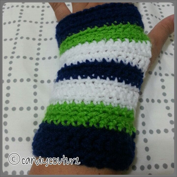 the hawk-seahawks fan crocheted handwarmers by CandyCouture22 on Etsy https://www.etsy.com/listing/162826818/the-hawk-seahawks-fan-crocheted