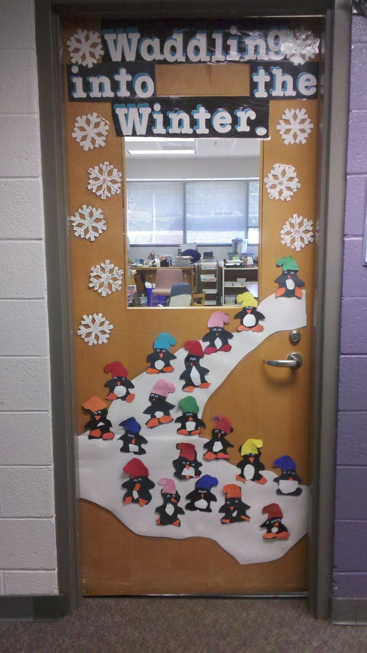 Waddle into winter bulletin board fun pinterest for Nursery class door decoration