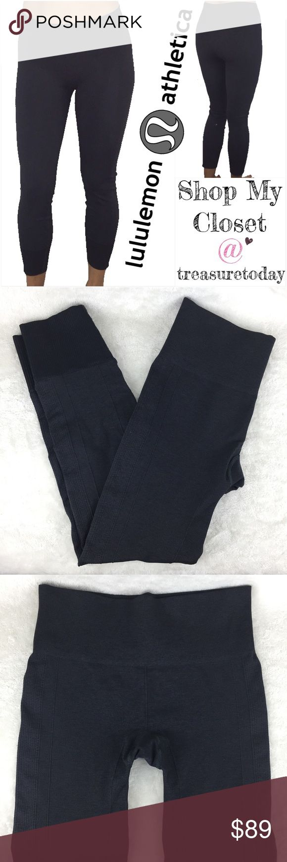 Lululemon Athletica Ebb To The Street Leggings Re- posh! Dark Gray color. Thick material- These have good amount of control and have a slimming effect. Great pre owned condition. Size tag was cut off but these fit best size 4 or 6. SUPER RARE! Bundle 2 or more items to get discount 💖 lululemon athletica Pants Leggings