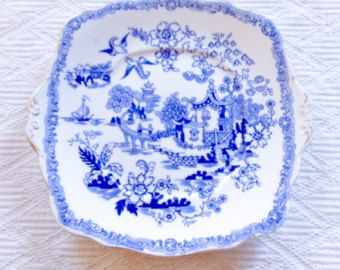 Exquisite Royal Albert Crown China 1920's Mikado Blue and White Cake Plate - Edit Listing - Etsy
