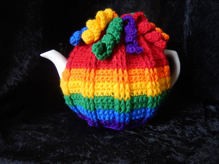 Curly Wurly Rainbow Tea Cosy by WinterSunflower45 on Etsy