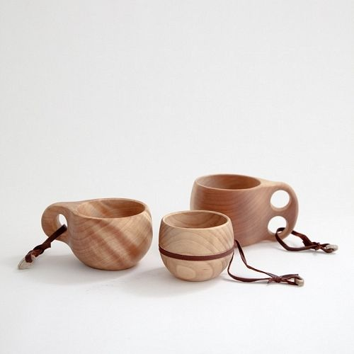 Kuksa Finnish Camping Cup: Handcarved from arctic birch burl and treated by boiling the cups in salt water for 12 hours. Often used for camping, a rinse with water is all that is recommended. Handmade in Finland with a handle of reindeer leather. #Cup #Wood_Cup Kuksa_Finnish_Camping_Cup