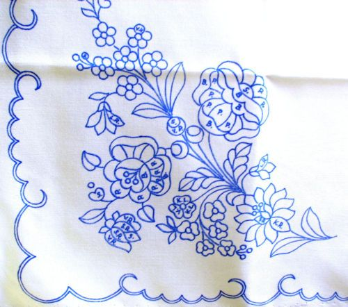 KALOCSA-Hungary-Hungarian-ROSES-LILIES-stamped-folk-embroidery-square-cloth-NEW