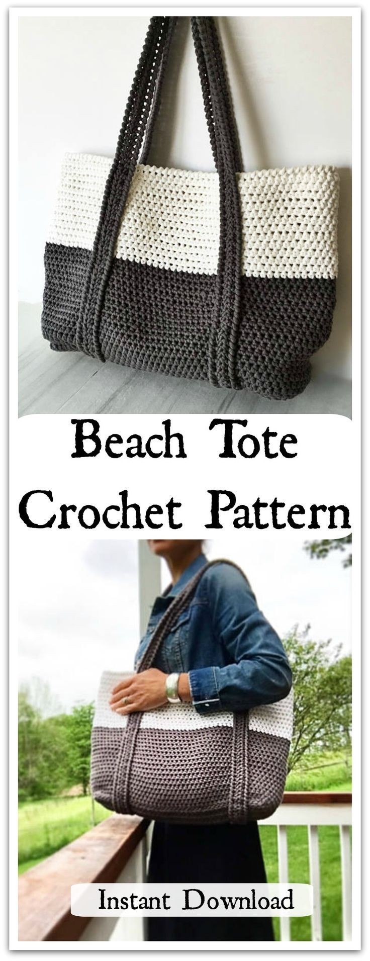 Ready for a day of fun in the sun... The Ryann colorblock beach tote is the perfect go-to summer bag for carrying all of the necessary beachy essentials. Instant PDF download. #ad #affiliate #crochet #pattern