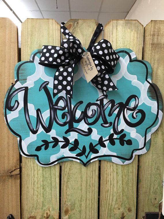 Welcome Door Hanger by WhimsyGirlArt on Etsy