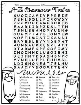 Character Traits Activity: Character Traits Word Search