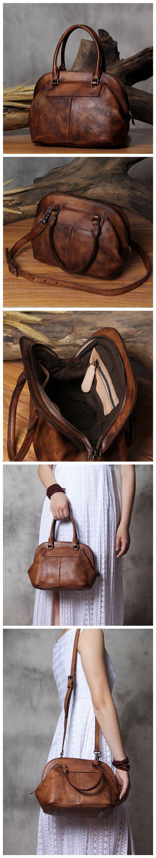 Handmade Genuine Leather Women's Fashion Tote Handbag Shoulder Bag Messenger in Vintage Brown 14120