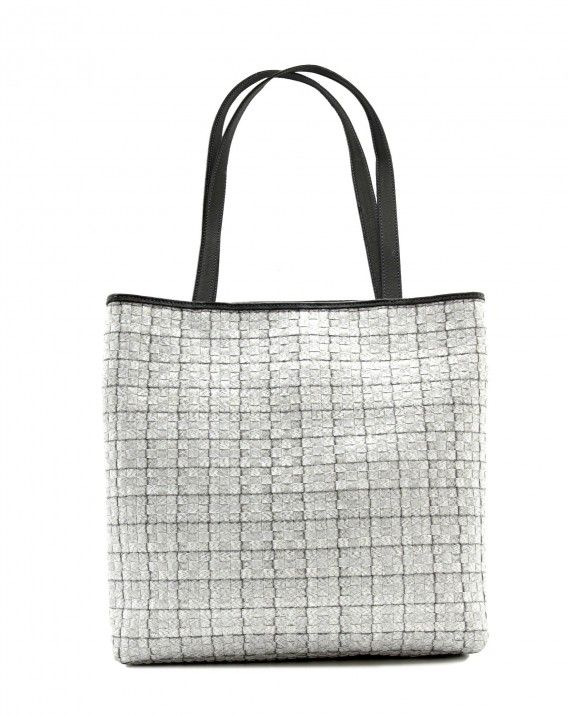 Timea in Charcoal White - Classic tote is crafted from durable synthetic rattan and trimmed in Italy leather for a sleek, sophisticated look.  *Chameo Couture fashion bags are artisan handmade and handwoven, therefore the pictures are close reference but not exact representation, as each item is unique and special, with its distinct patterns and natural characteristics/textures of a handmade product.