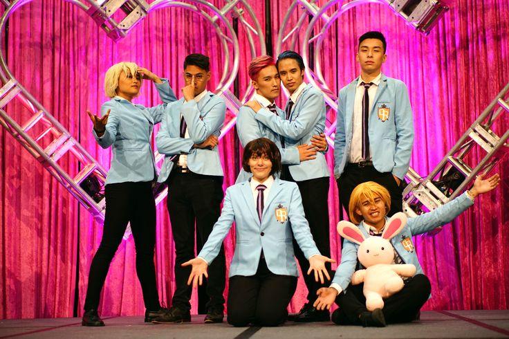 The Corps Dance Crew at Anime Expo 2017.  Anime expo, anime expo masquerade, ax masquerade, ouran high school host club, cosplay dance crew, honey senpai, morinozuka, haruhi fujioka, kyouya ootori, hikaru and kaoru, the hitachin twins, tamaki suo, ouran cosplay, cosplay dance, ax halftime, masquerade halftime, cosplayers