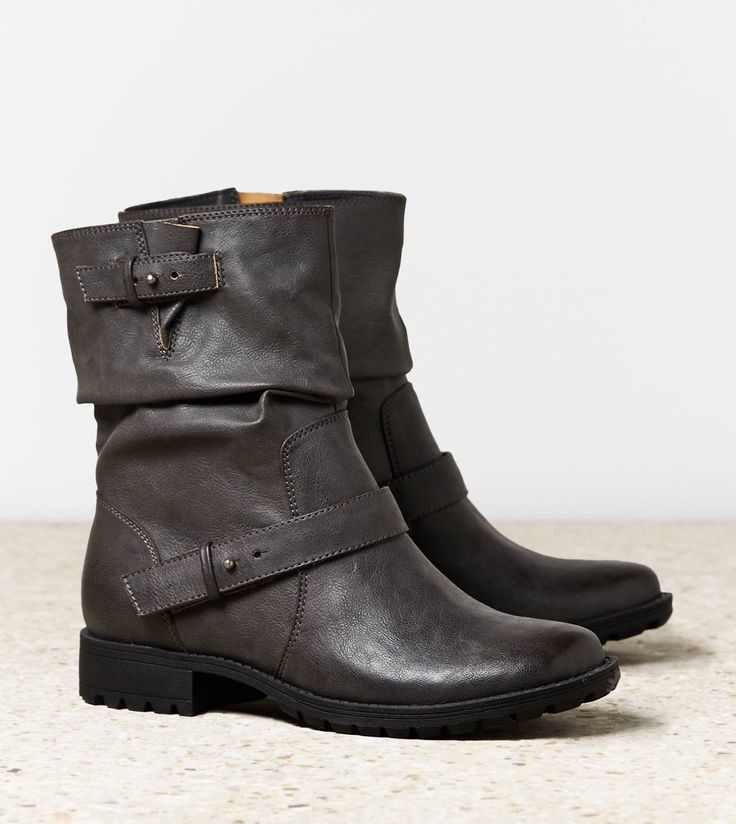 Need these for winter timez - my old black boots are on their last breath of air AEO Slouchy Moto Boot