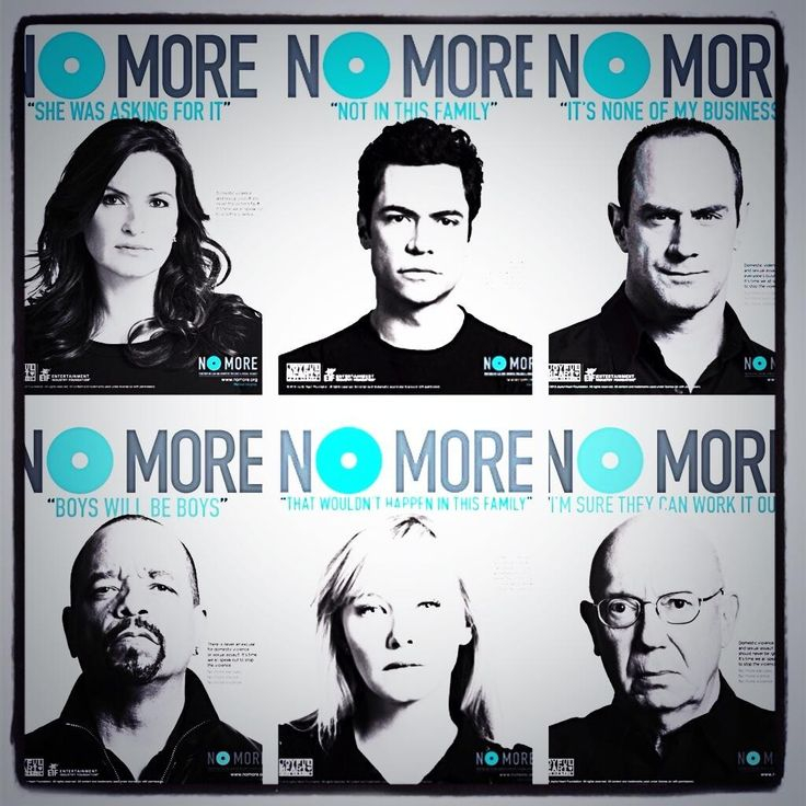 NO MORE EXCUSES OR DENIAL: Mariska Hargitay, Danny Pino, Christopher Meloni, IceT, Kelli Giddish, Dan Florrick, all SVU pictured. Together we can end domestic violence and sexual assault #domesticviolence #stopdomesticviolence #domesticviolenceawareness