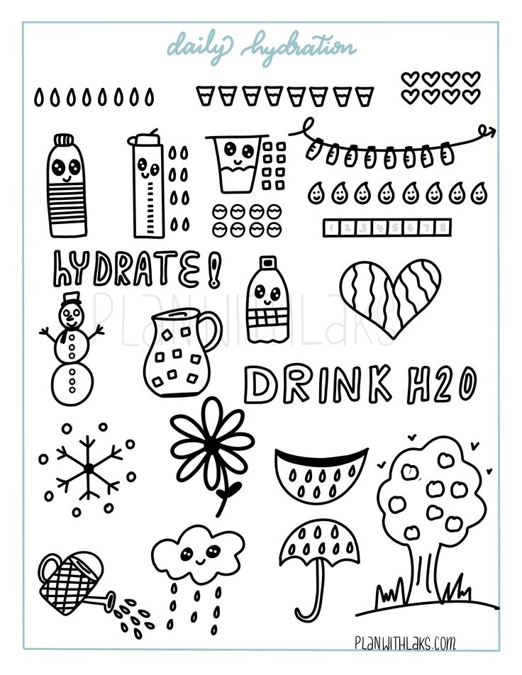Easy to draw fun hydration symbols/icons for any planner