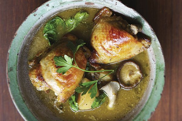 Rick Bayless | Roasted Garlic Chicken with Mushrooms, Potatoes and Spinach: A Big Bowl of Slow-Cooked Comfort