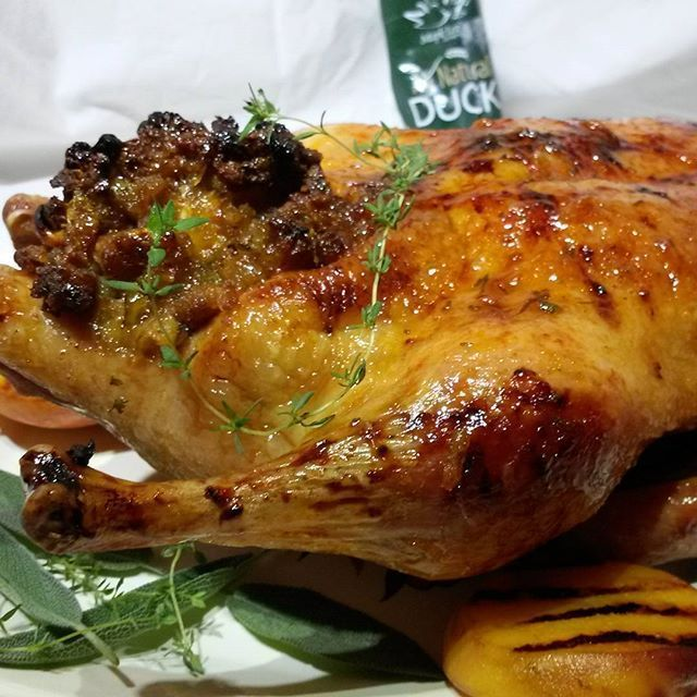 Fuzzy Navel Grilled Duck with fresh thyme and sage and Mango Stuffing with Fresh Green Beans with thyme and sage! OMFG!  #yummy #delicious #foodie #foodies #hungry #yum #instagood #foodbloggers #foodblogger #binkysculinarycarnival
