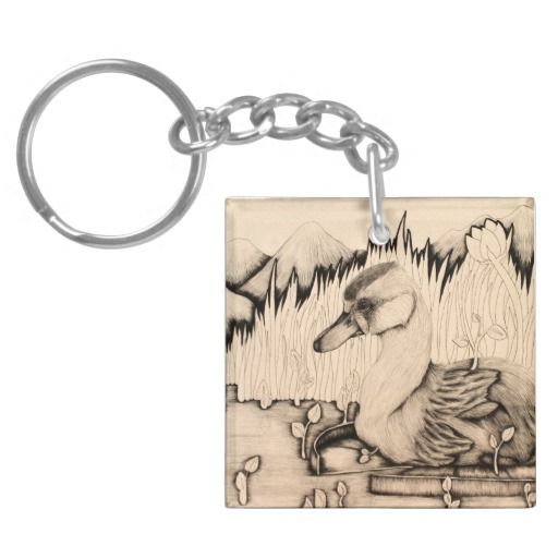 """""""Ugly Duckling"""" illustrated cute duck Keychain"""