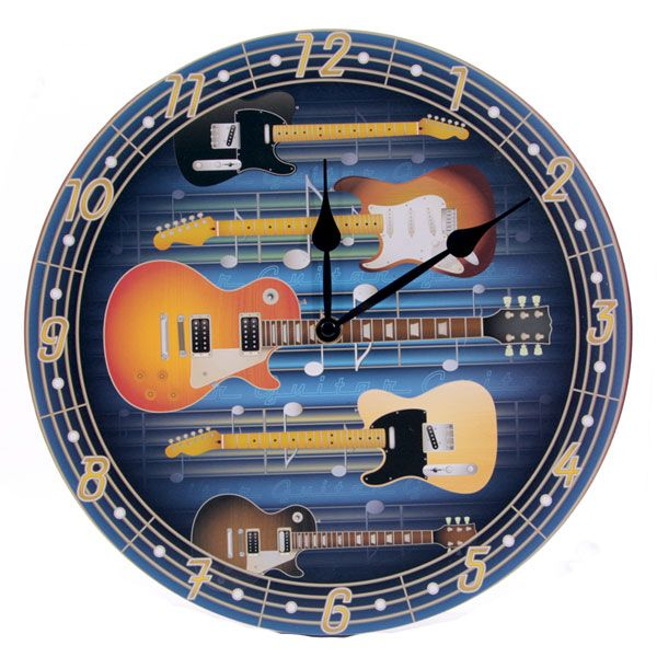 Fun Rock Guitars Design Decorative Wall Clock £12.00 + FREE P&P  Each clock is made from MDF and has a standard plastic clock movement that requires 1 AA battery. All are wall mountable and come in a decorative but simple display box making them ideal gifts. Dimensions: Diameter 29cm #htlmp #guitars #music #acoustic #electric #clock