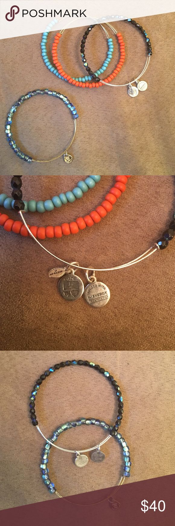 Alex and Annie beaded bracelet bundle. Assortment of four beaded Alex and Annie bracelets! One turquoise on gold band, coral on gold band, iridescent sea blue on gold band and dark iridescent sea blue on silver band. Bohemian and eclectic style. Alex & Ani Jewelry Bracelets