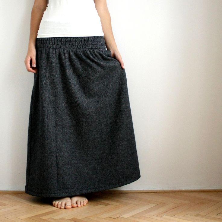 Dlouhá žabková sukně, vlněná :) 15 látek!