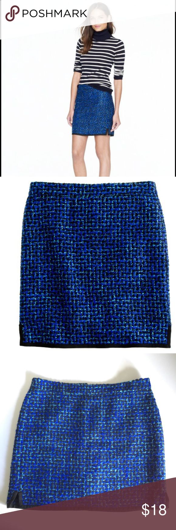 """J. Crew Postage Stamp Mini in Indigo Tweed Size 8 J. Crew Postage Stamp Mini in Indigo Tweed. Crafted in a subtle A-line shape to hang off the hip, it's absolutely of the moment in an indigo tweed that makes your entire wardrobe pop. Size 8.  Acrylic/poly/wool/cotton. Sits above waist. Back zip. 16 1/2"""" long. Lined. Dry clean. J. Crew Skirts Mini"""