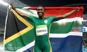 Caster Semenya of South Africa celebrates her gold medal run in the 800m.at Rio 2016