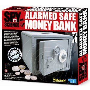 Caden was over-the-moon when grandma gave him his very own combination safe for his birthday.  If anyone breaks into it, an alarm sounds.  It's the perfect place for his iPod, money, and anything else that he treasures.Gift Ideas for Boys