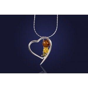 Biżuteria srebrna. Serduszko na łańcuszku 45cm z  kolorowy bursztynem.
