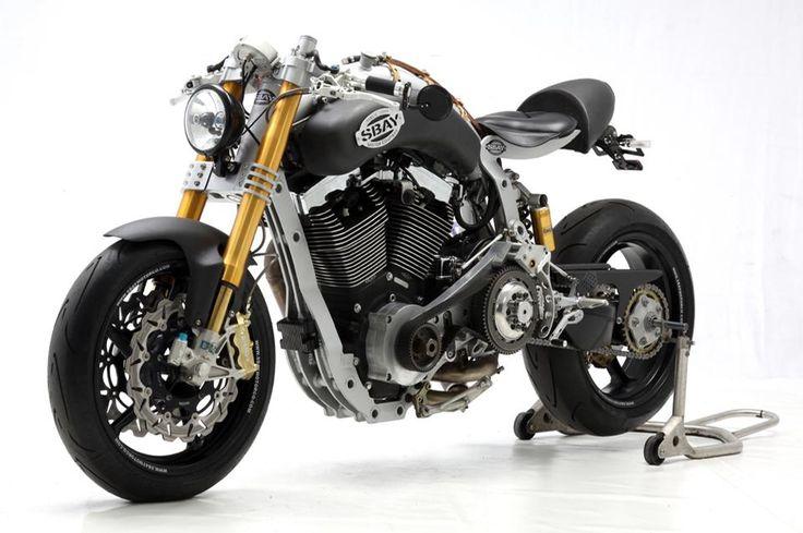 modern cafe racer with custom aftermarket harley davidson motor by sbay motor co cool