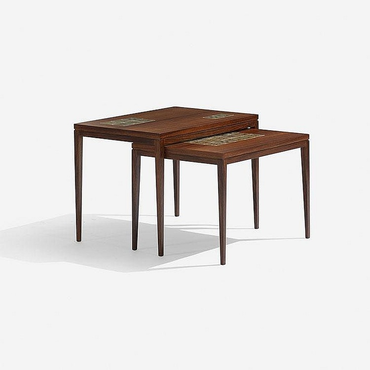 Bjørn Wiinblad nesting tables, pair Rosenthal Denmark, c. 1960 teak, porcelain 23.5 w x 16.5 d x 17.75 h inches Signed with applied disc manufacturer's label to underside of each example: [Rosenthal Germany].