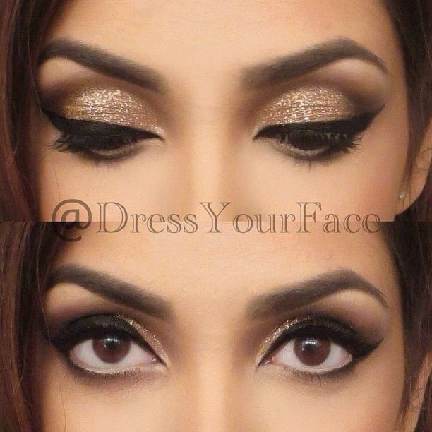 EYE MAKEUP CLOSE-UPS & DETAILS (full face on previous post): @MotivesCosmetics Little Black Dress gel liner,  Motives shadows in Vanilla (brow bone and waterline), Vintage Glam (lid), Cinnamon Spice (crease), Chocolight (outer corner), Onyx (outer corner and lower lash line), with Pot Of Gold glitter on eyelids for sparkle!✨