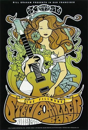 """Original concert poster for The Steve Miller Band at The Fillmore in San Francisco, CA in 2008. 13""""x19"""" on card stock. Art by Scrojo. F925"""