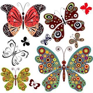 Set con 10 ilustraciones de mariposas de colores