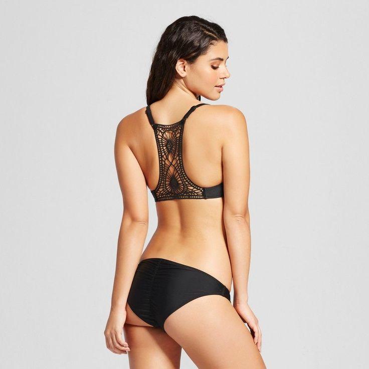 Women's Crochet Back Push Up Bikini Top - Black - D/DD - Xhilaration