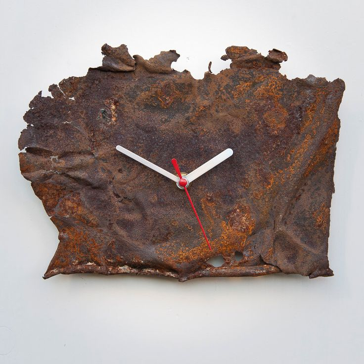 Handmade Wall Clock Rust - Industrial modern indie vintage special large 1st 21st 18th 50th engagement prom graduation gift for him - R01-08 by BrokenFacesClocks on Etsy https://www.etsy.com/listing/492164063/handmade-wall-clock-rust-industrial