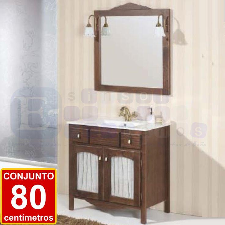 CONJUNTO MERCEDES 80 cm.  Bello conjunto de mueble de baño rústico con puertas de cortinillas.