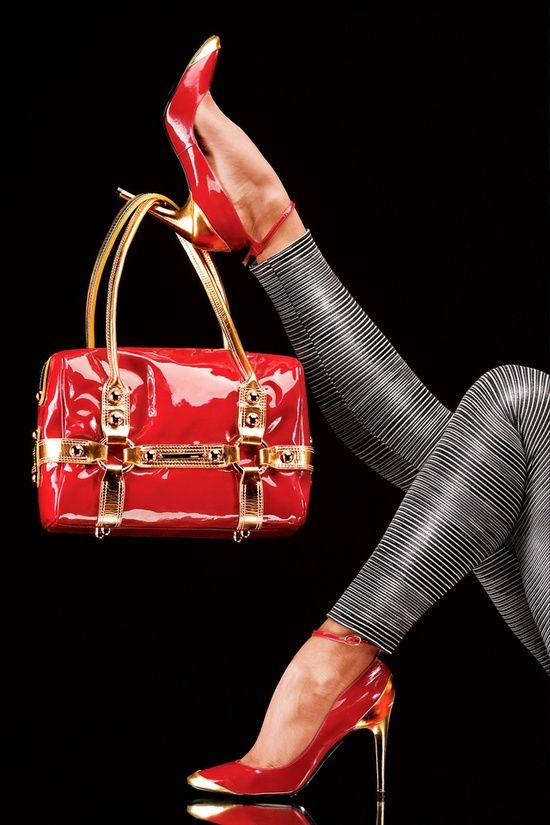 * Walking in Style * / Red and Gold | Heels and Purse |2013 Fashion High Heels|