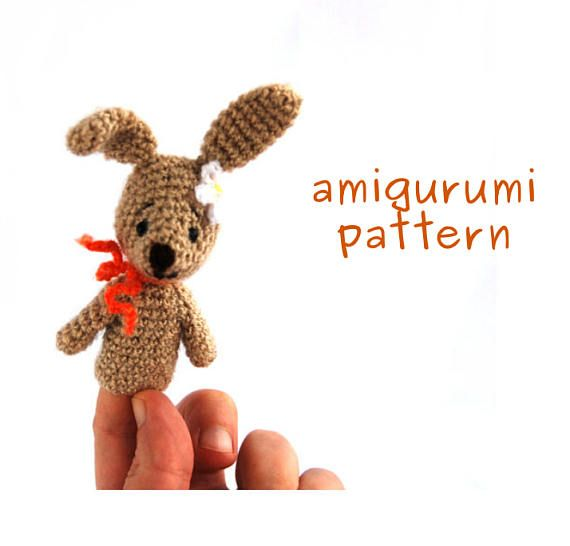 USD 4.55 bunny #amigurumipattern, crochet finger puppet pattern, gift from grandmother to toddler, how to make, #puppet tutorial, #bunny puppet