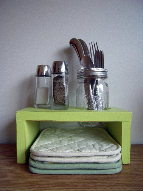 Primitive Distressed Table Or Counter Top Organizer In Green Tea Available Many Other