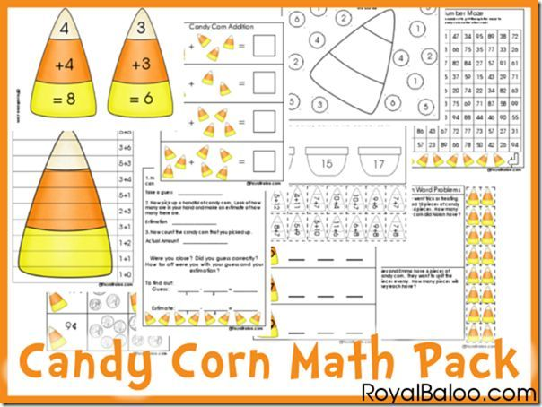 Here's another fun and yummy math freebie. Head over to Royal Baloo for this Free Candy Corn Math Printable Pack. More candy