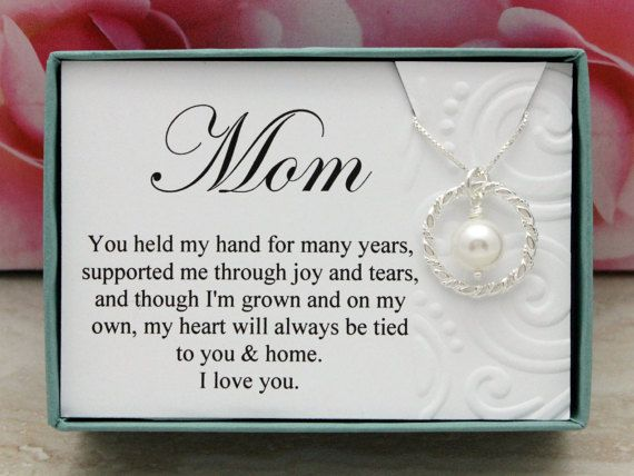 Gift for Mom necklace from Groom or Bride gift by SilverStamped
