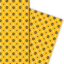 Cooles Halloween Geschenkpapier mit Herz, Totenköpfen und Knochen (4 Bögen 32 x 48cm), auf gelb