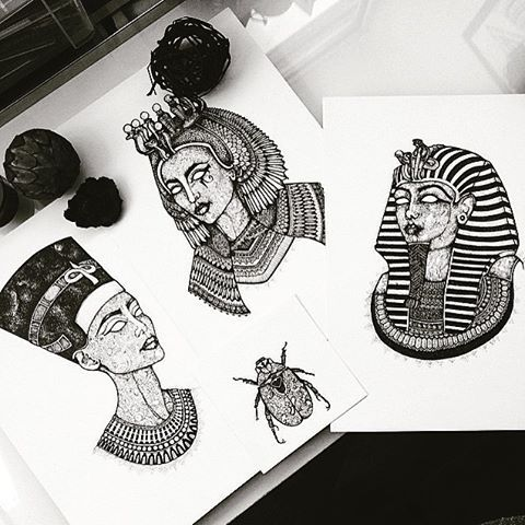 Check out Asmahan's Artwork on Ancient Egypt at @murderandrose | #AncientEgypt #Nefertiti #Cleopatra #Tutankhamun #Art #Egypt #Design #Love