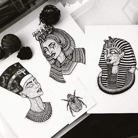 Check out Asmahan's Artwork on Ancient Egypt at @murderandrose | #AncientEgypt #Nefertiti #Cleopatra #Tutankhamun #Art #Egypt #Design #Love