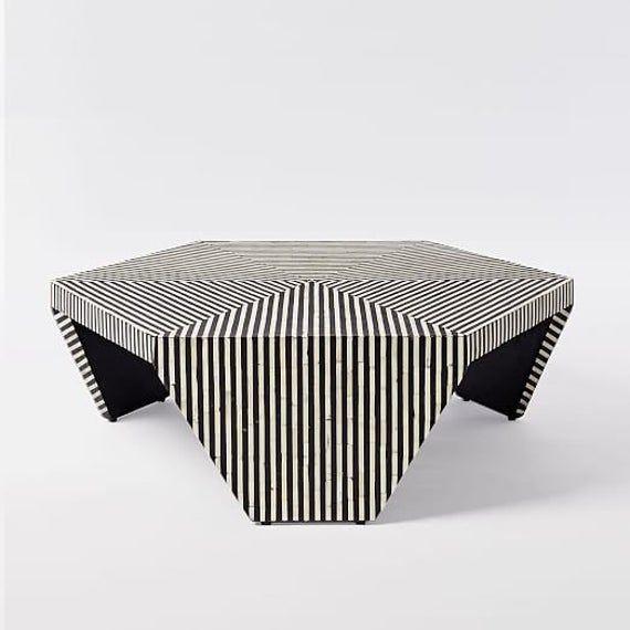 Bone Inlay Center Table Fast Delivery Hexagonal Black Zebra